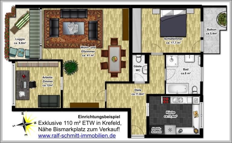 Eigentumswohnung in krefeld 110 m komplett saniert Markise balkon eigentumswohnung